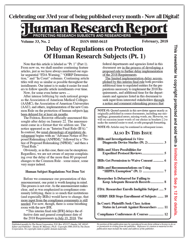 Human Research Report - Volume 33, No. 2